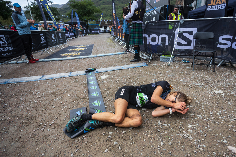 Elsey Davis is overwhelmed after winning the women's 2021 Ring of Steall Skyrace - copyright No Limits Photography.