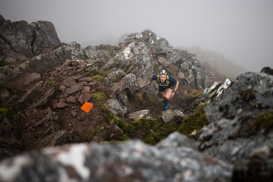 Heading for the heights at the 2021 Ring of Steall Skyrace - copyright No Limits Photography.