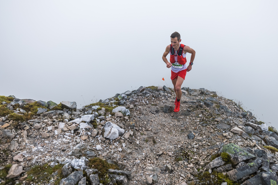 Sebastian Batchelor in action at the 2021 Ring of Steall Skyrace - copyright No Limits Photography.