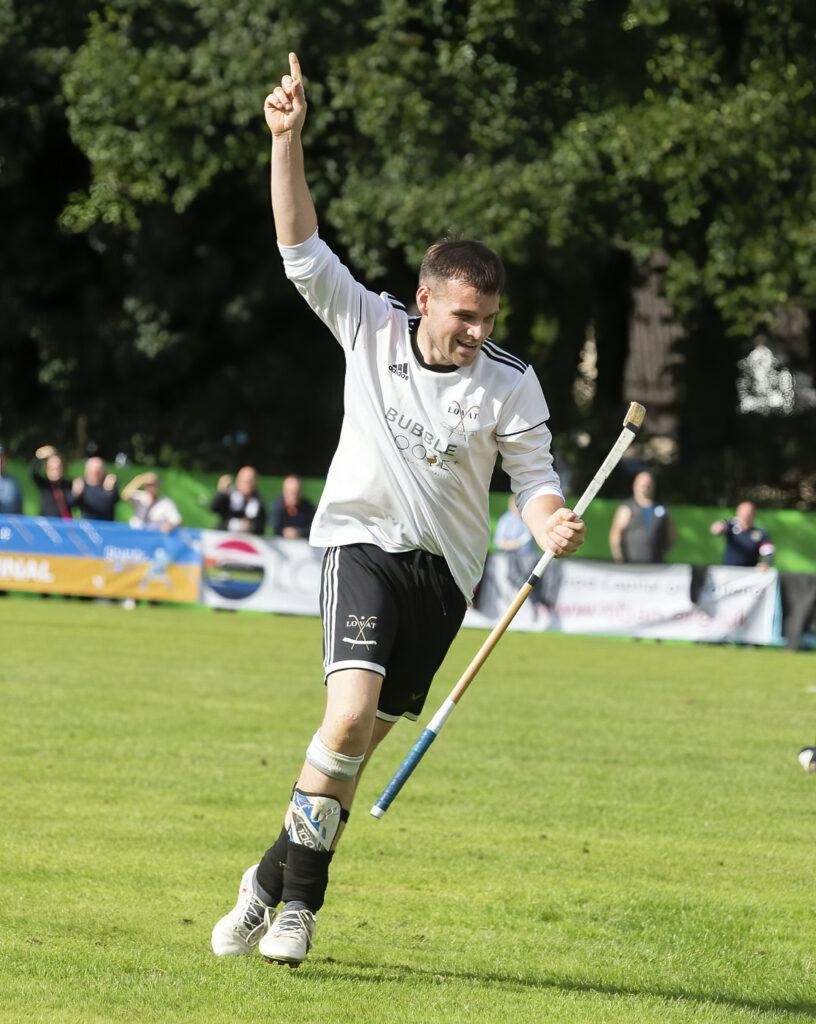 Greg Matheson celebrates scoring Lovat's only goal. Photograph: Stephen Lawson.
