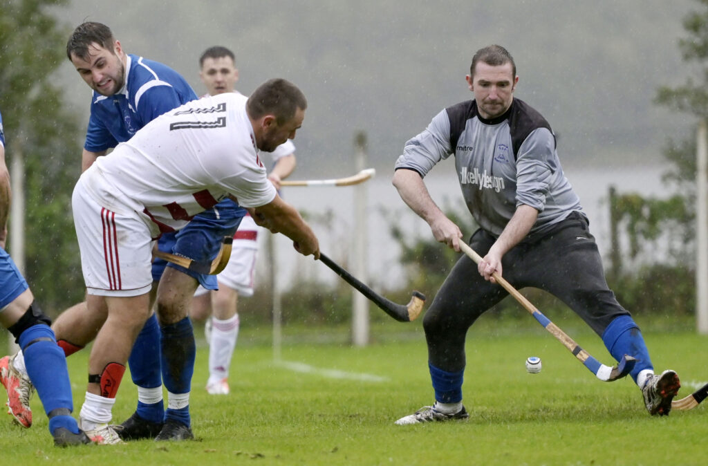Lochaber's early scorer Ben Delaney takes a shot at the Kilmallie goal. As well as being a league match, the tie doubled as the BSW Cup Final. Photograph: Iain Ferguson, alba.photos