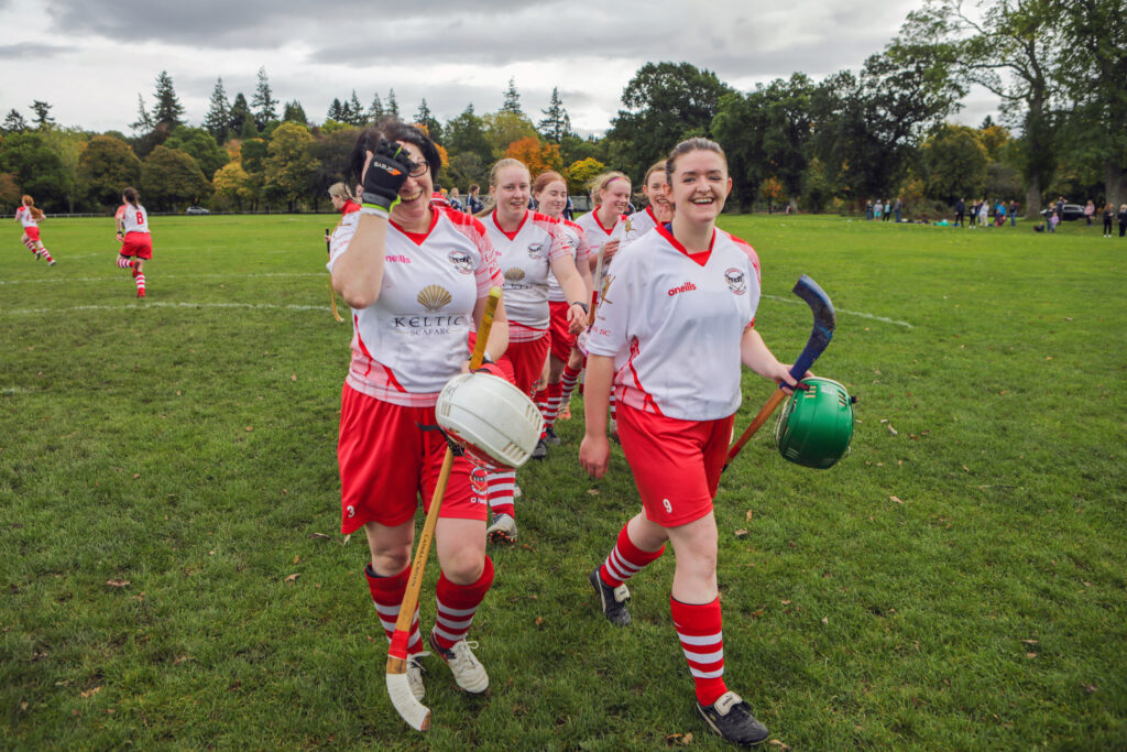 Inverness celebrate after winnning the Women's Mod Shinty Cup on penalties at Bught Park Inverness - The Royal National Mòd 2021 in Inverness, Scotland, 9/10/21