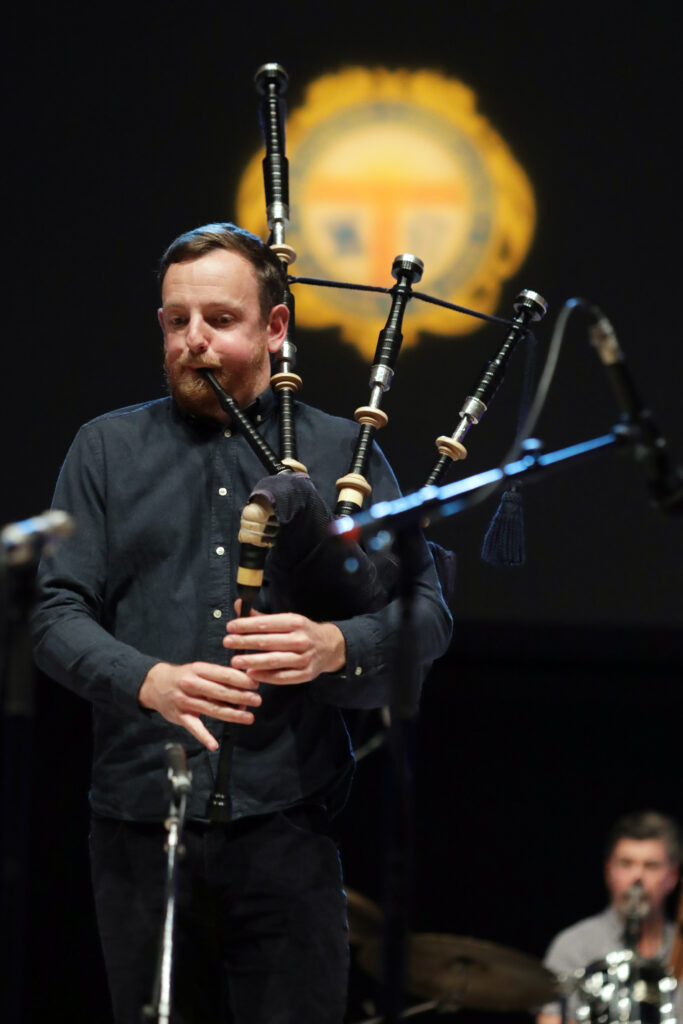 Picture shows, James duncan McKenzie playing Bagpipes at the special Our Language, Our Music concert