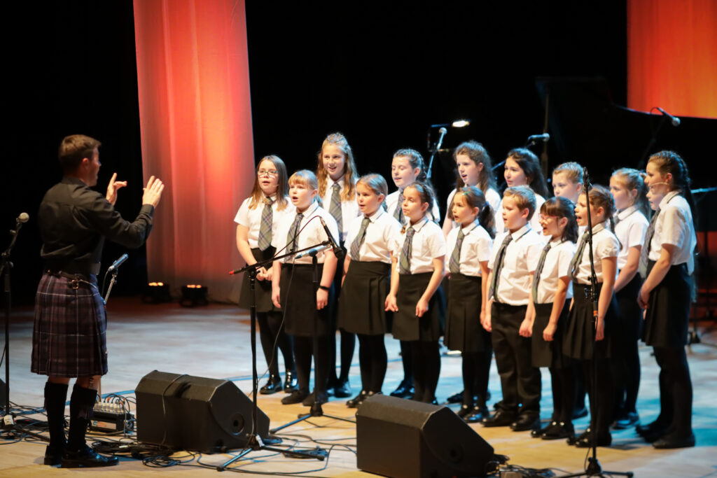Picture shows Choir from Bun-sgoil Ghàidhlig Inbhir Nis, the Highland's first designated purpose-built all Gaelic school.  performing on stage at the special Our Language, Our Music concert