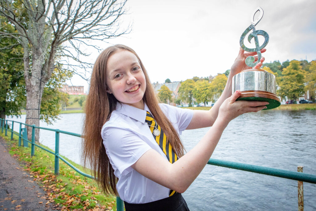 Picture shows Naomi J Graham, age 15, from The Nicolson Institute School (Sgoil MhicNeacail) in Stornoway, Scotland, winner of the James C McPhee Memorial Medal at The Royal National Mòd 2021, in Inverness, Scotland.