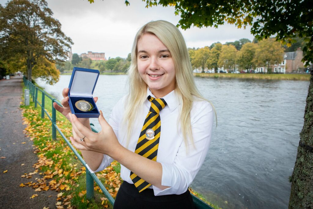 Picture shows Kirsty Nicolson, age 17, winner of the Provost of Falkirk Medal (Solo Singing Learner -Traditional - ages 16-18), at The Royal National Mòd 2021, in Inverness, Scotland.