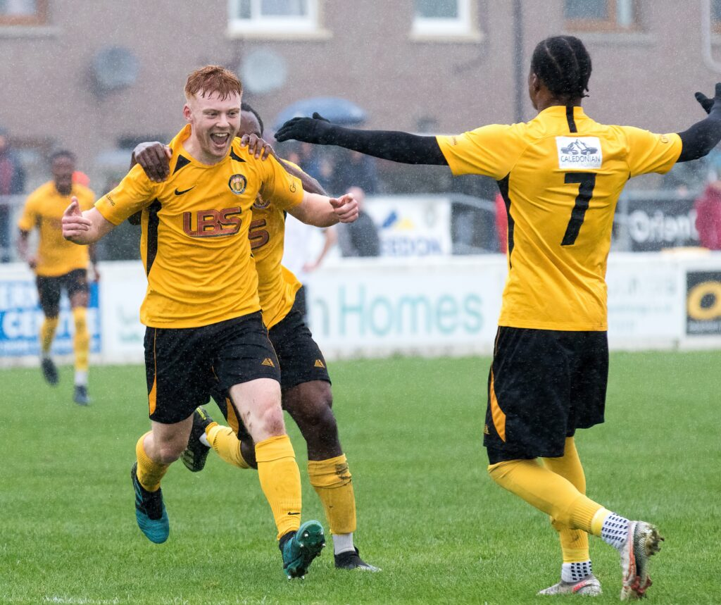 Connor Moore celebrates heading the ball past Clach keeper Martin MacKinnon, in the 25th minute. Photograph: Donald Cameron.