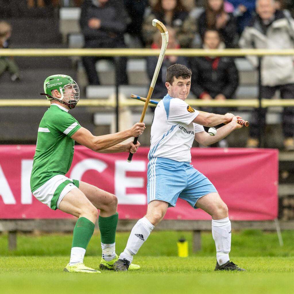 Beauly's Colin MacDonald tries to block Jordan Murchison, Skye. Photograph: Neil Paterson.