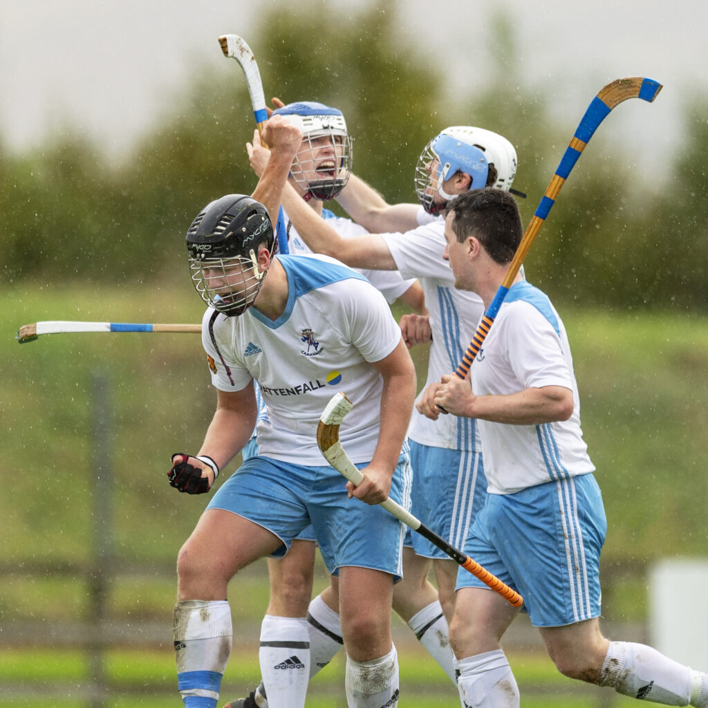 Skye players celebrate their third goal. Photograph: Neil Paterson.