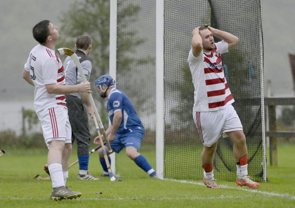 One of several near misses by Lochaber in their 3-2 defeat in Saturday's match against Kilmallie. Photograph: Iain Ferguson, alba.photos