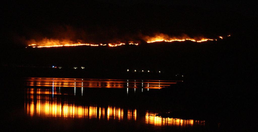 Grass fire lit up Appin sky