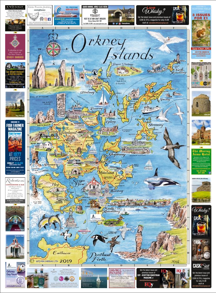 Orkney Islands & Kirkwall and Stromness Maps 2019