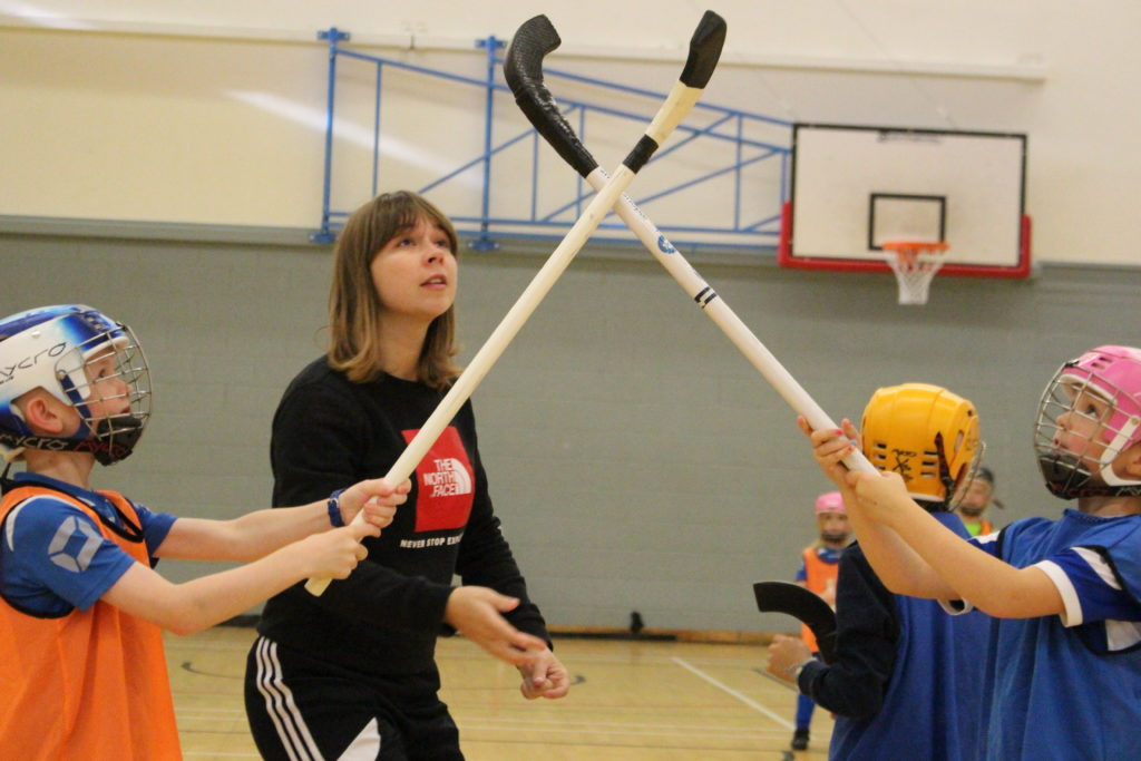 Kirsty Delanney, pictured coaching a group of youngsters - was named joint winner of the Young Coach of the Year Award. NO F47 Kirsty delaney