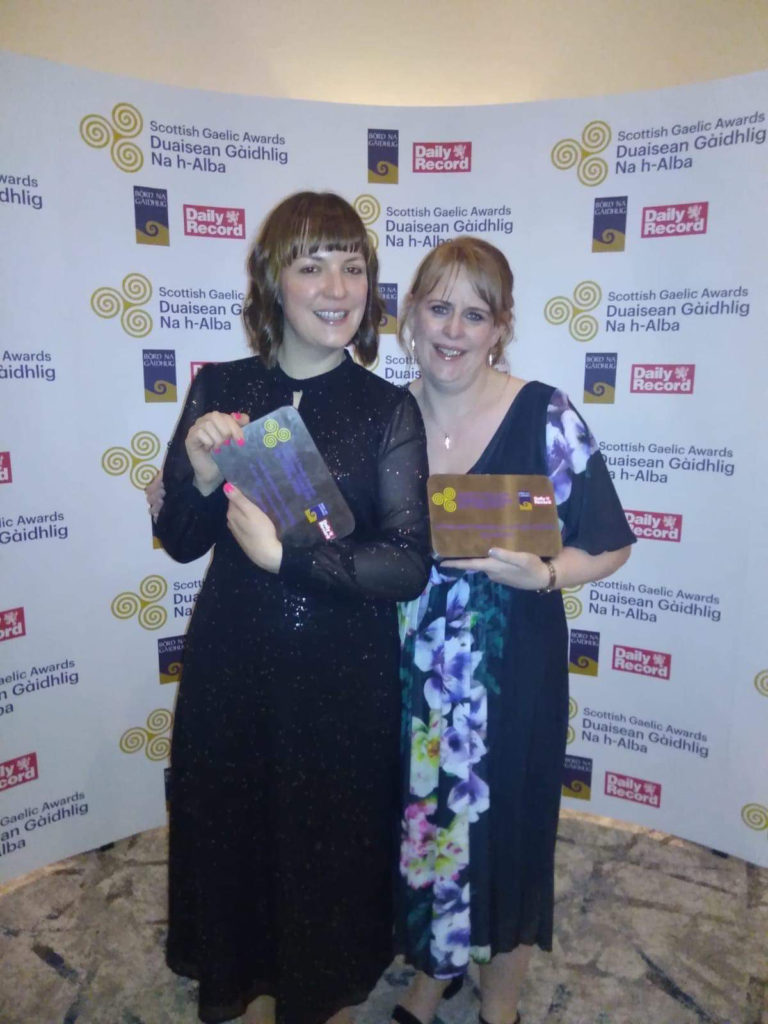 Anna, left, and Dawn, with their awards. NO F49 Gaelic awards