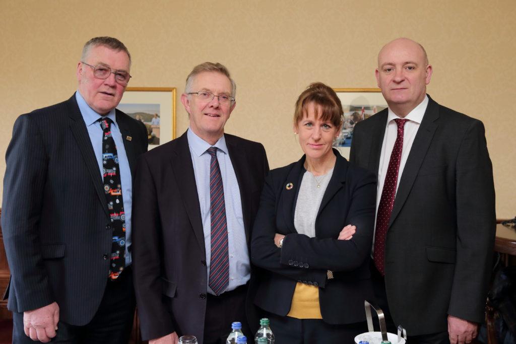 The UK unions' presidents are, left to right, Andrew McCornick, NFU Scotland; Ivor Ferguson, Ulster Farmers' Union; Minette Batters, NFU; and John Davies, NFU Cymru. Photograph: Cliff Donaldson