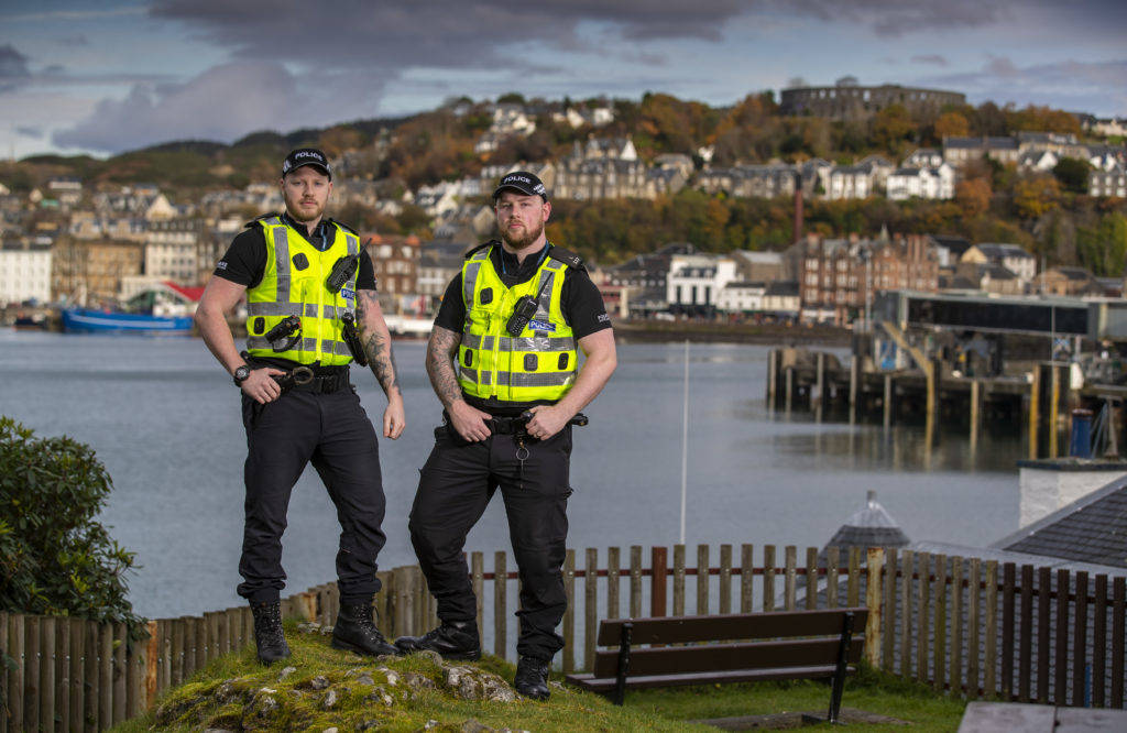 Constables Shaun Conway and Scott Deakin were nominated for a Scottish Police Federation Bravery Award. Photograph: Andy Barr. NO_T49_ObanPolice02