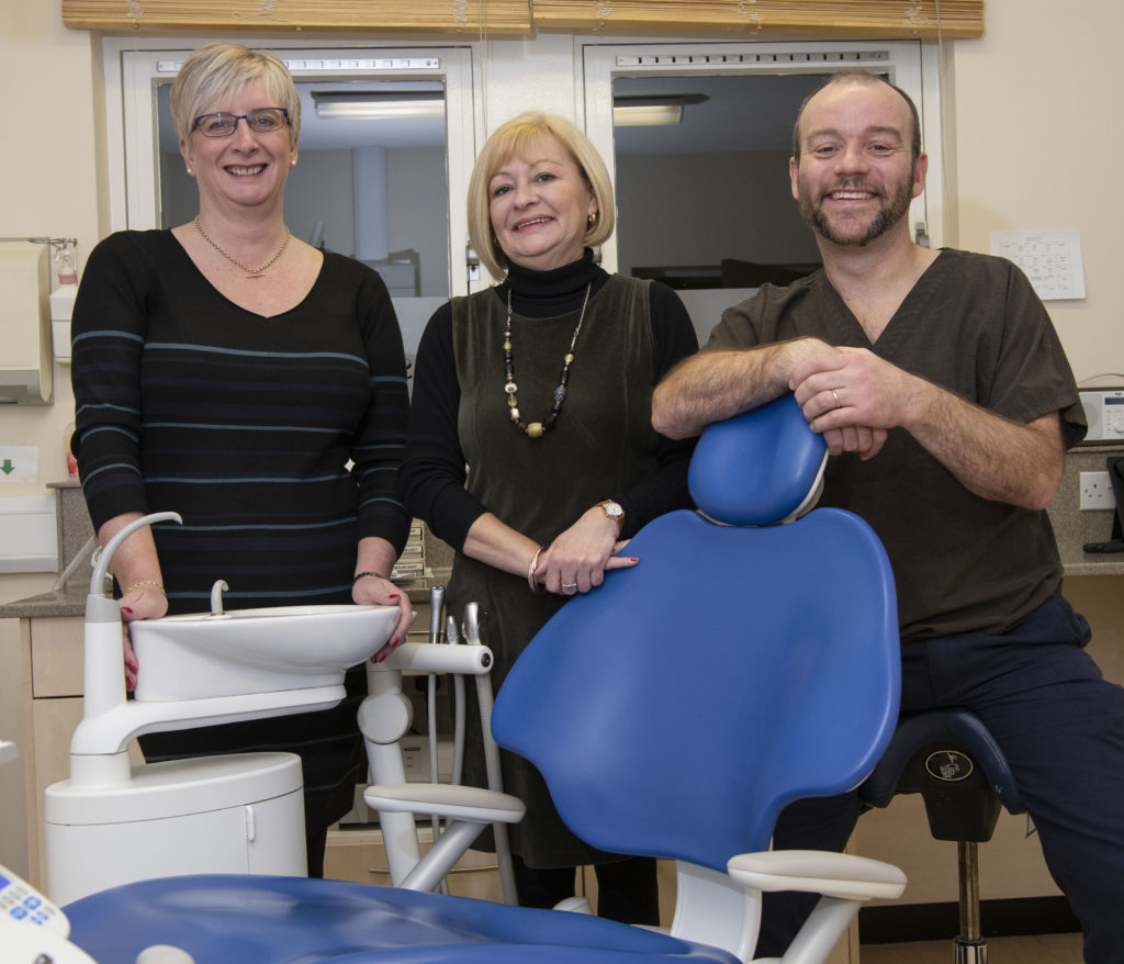 Dentist, Gregor Muir, with Practice Managers, Gillian Matheson (left) and Jillian Bruce. Photograph: Iain Ferguson, The Write Image/alba.photos NO-F01-MS-Dental-Care-Gillian-Matheson-Jillian-Bruce-Gregor-Muir.jpg
