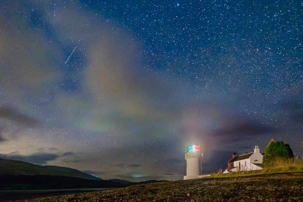 Just after 5am on the morning of December 28. 2017, a shooting star from the Quadrantids meteor shower flies across the sky above the Corran lighthouse. Photograph: Courtesy of Steven Marshall Photography. NO-F49-Dark-Skies-Corran-Point.jpg