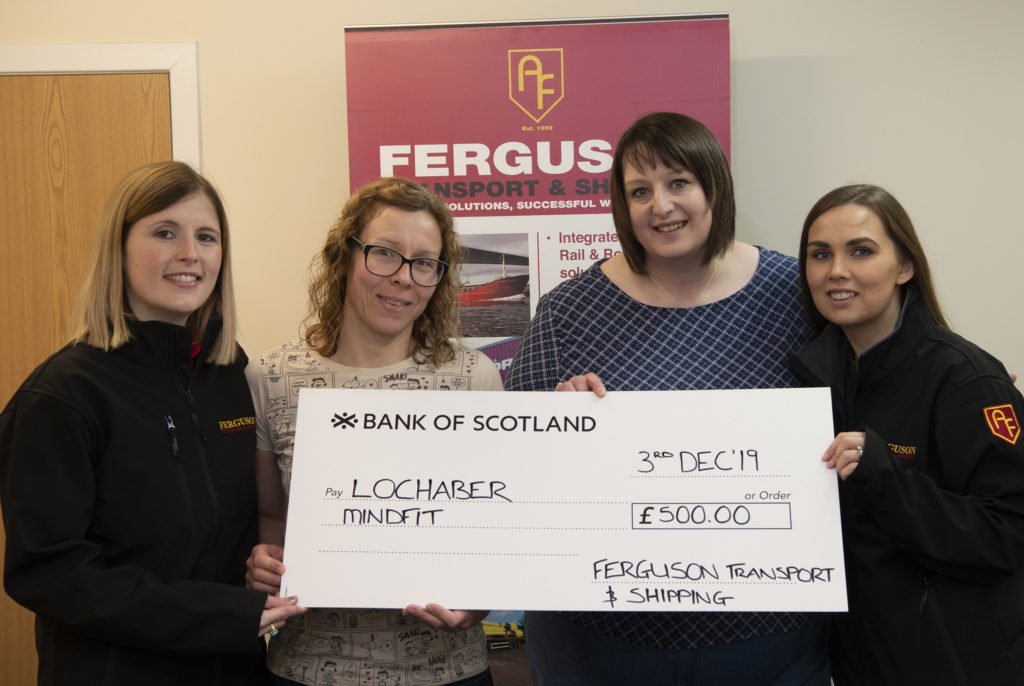 Ferguson Transport hands over £500 to Lochaber MindFit