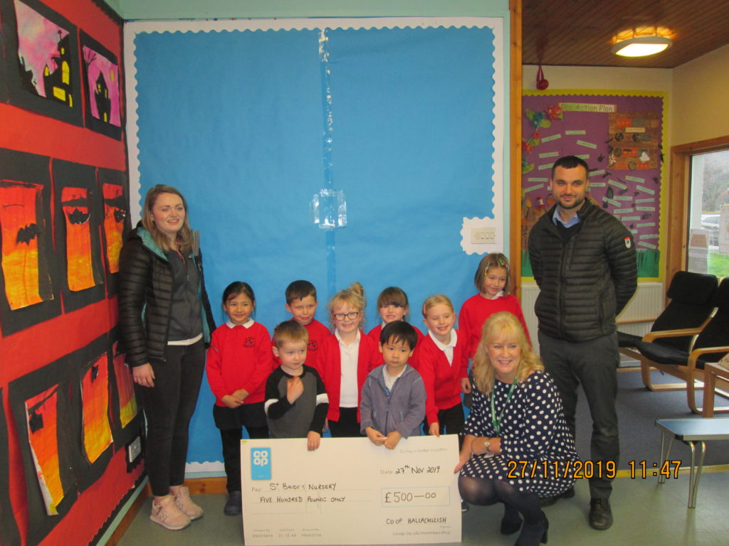 St Bride's nursery gets £500 cheque from local Co-op