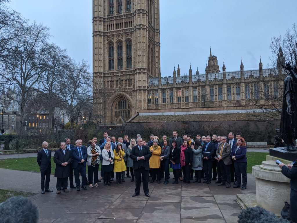 Ross, Skye and Lochaber MP and SNP Leader at Westminster, Ian Blackford, greets the party's other 47 MPs in London on Monday. NO F51 MPS outside Westminster