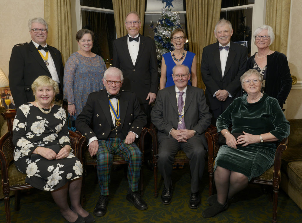 There was an excellent turn-out for the event. Back row, from left, are - President-Elect Richard Baxter and his wife Sheryl, Peter Hamling and his wife Kathryn, Past-President Paul Brian and his wife Helen. Front - Oban President Douglas Small and his wife Judith, Lochaber Club President Clive Talbot and his wife Celia. Photograph: Iain Ferguson, The Write Image. NO-F51-ROTRAY-CHARTER-DINNER.jpg