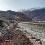 The existing sea wall on the A87 at Kintail. NO F52 The sea wall on the A87 at Kintail