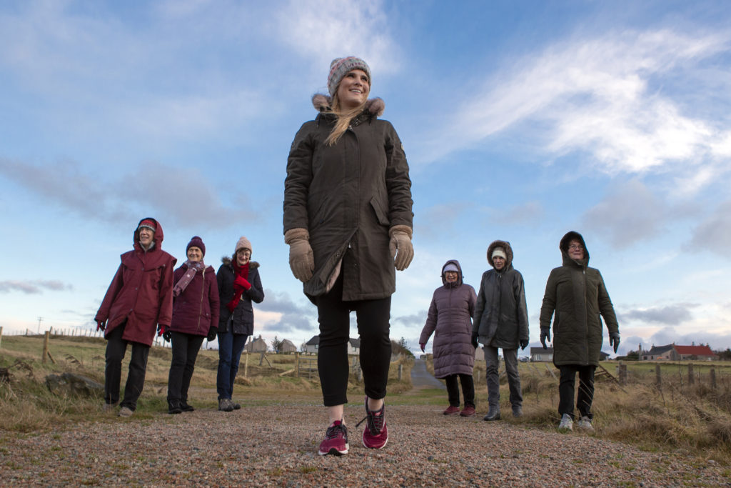 Women For Mission group and friends, on the circular walk with a section along the completed first phase of the coastal path. Photograph: Sandie Maciver/SandiePhotos NO-F02-Stornoway-path.jpg