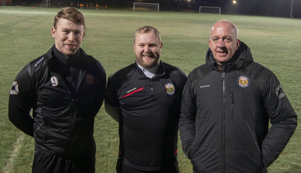 Fort's new management team was announced last night (Thursday) at Claggan Park. From left are John Treasurer, Jamie McGregor and new manager Calum MacLean. Photograph: Iain Ferguson, The Write Image. NO F03 FORT FC MANAGEMENT TEAM