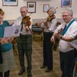 Pictured from left are, Club President Clive Talbot and new Rotarian Jenny Cooper, with Burns entertainers, David Thomson, Sheana Fraser, Richard Baxter and Past President John Hutchison. Photograph. Iain Ferguson, alba.photos NO F05 Rotary Burns Supper 02