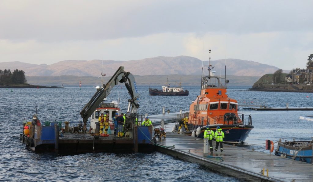 Casualty on board work boat sees Oban lifeboat launched