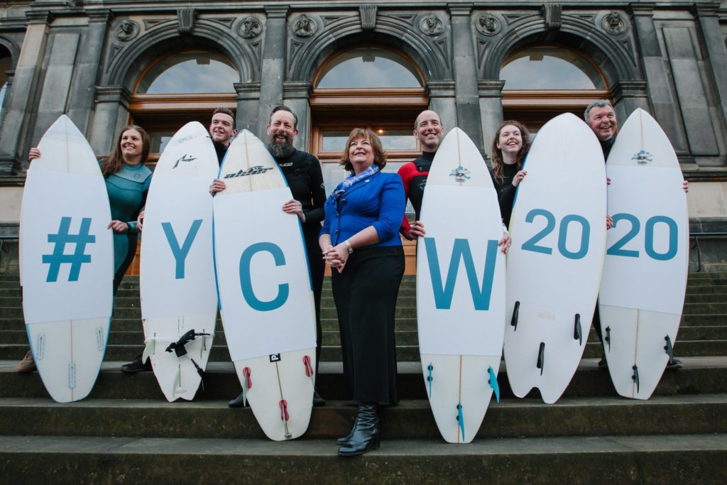 Cabinet Secretary Fiona Hyslop unveils events set to make a huge splash in celebration of Scotland's Year of Coasts and Waters 2020, with local Scottish Surfers, using hashtag : YCW2020. L-R: Surfers Sally Harris, Owen McQueenie, Brian Allen, Sam Christopherson, Tamzin McQueenie and Martin McQueenie