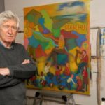 Sandy Moffat with his new painting.
