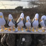 The project saw old tea towels recycled into these handsome seagulls. NO F08 Arisaig nimble fingers seagulls