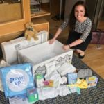 Kate Forbes MSP with one of the baby boxes. NO F08 KF baby box