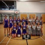 The victorious Falcons team, left, with their Inverness Rubies. NO F09 netball