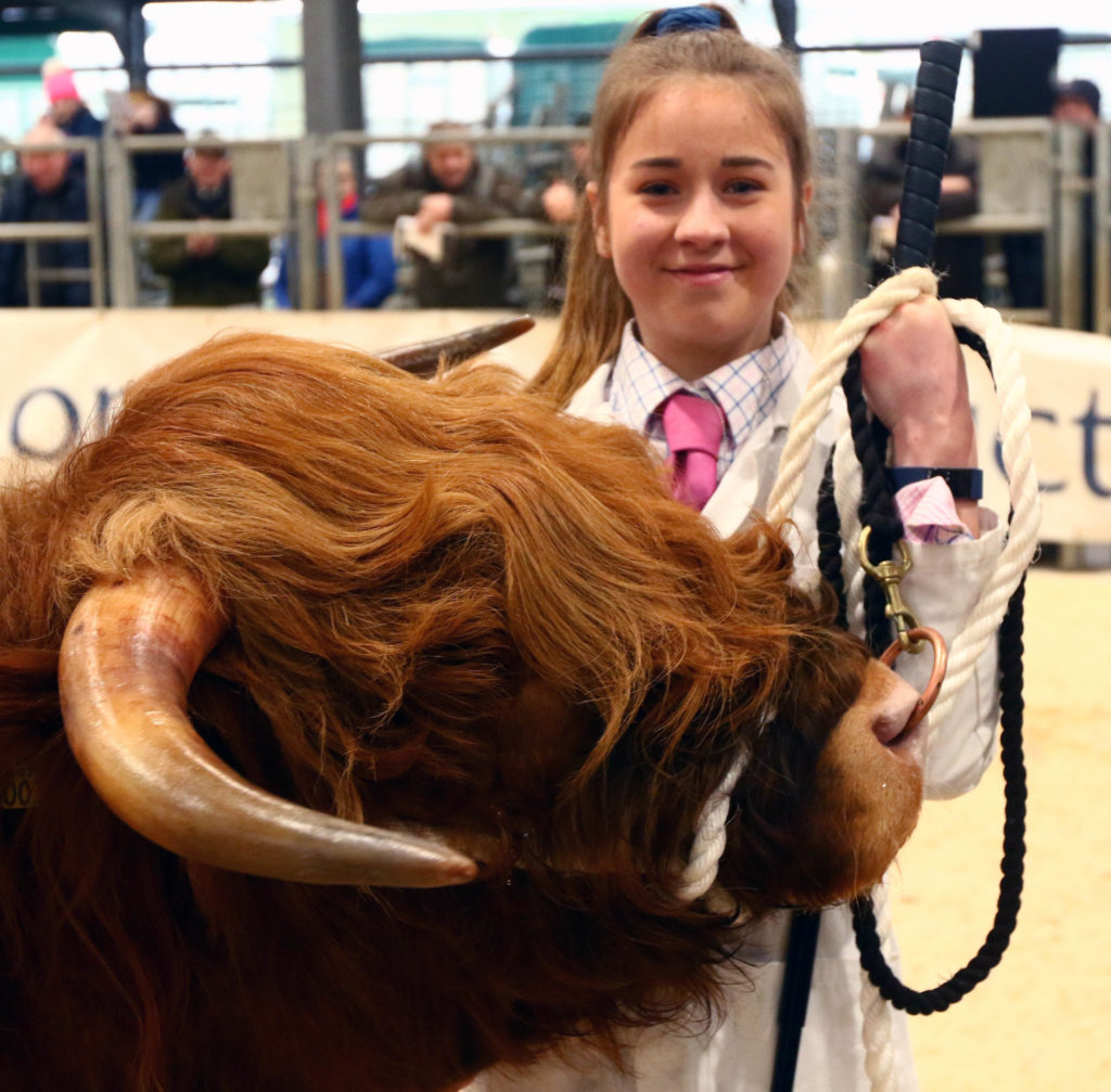 A delighted Emily Armstrong, from Tiree, who was the winner of the overall young handler competition. NO_T07_HighlandCattleShow04_Photograph-Kevin-McGlynn