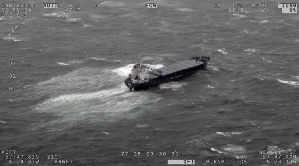 Cargo vessel runs aground off coast of Skye