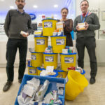 Dr Finlay Wild (left) with Boots phramacist Alina Tkaczewska and NHS communit pharmacist, Chris Cameron, with the pile of unused prescription drugs returned to the High Street store in just two weeks. Photograph: Iain Ferguson, alba.photos NO F11 Drug Mountain