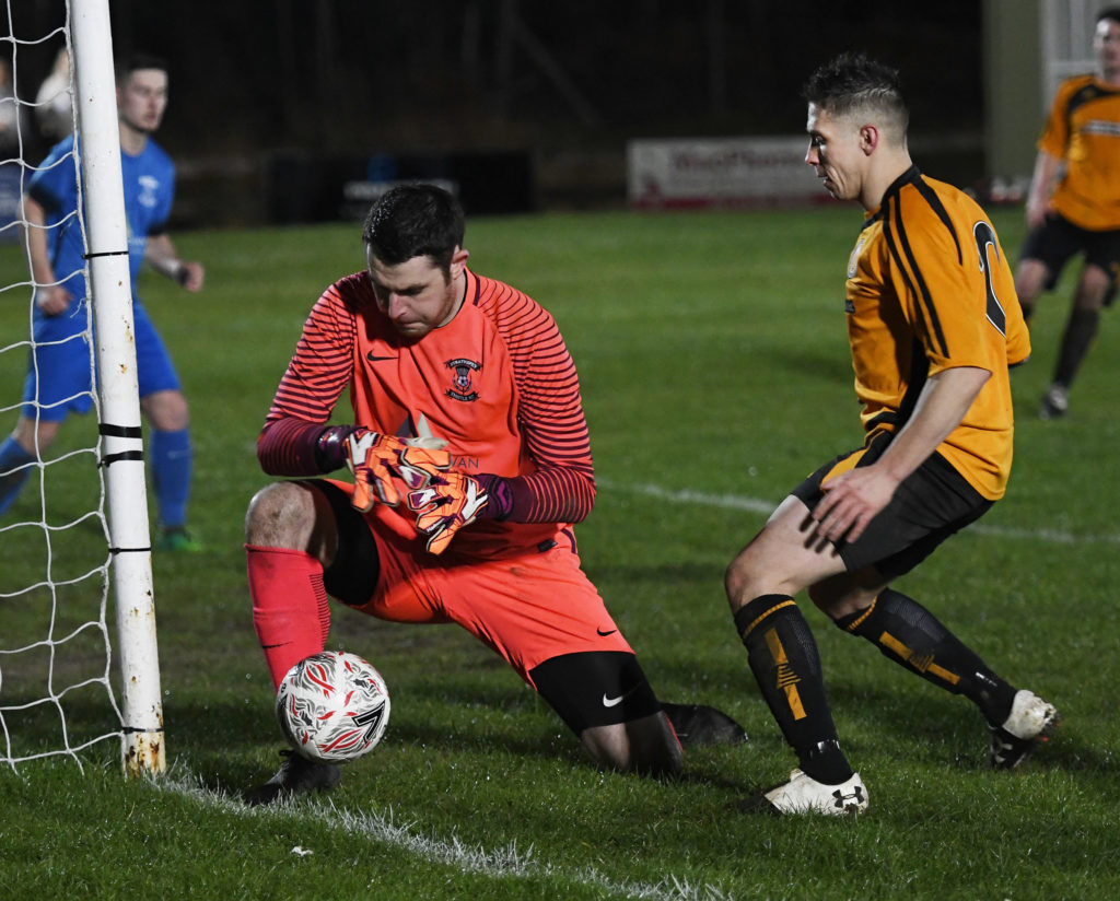 So close as Fort's Danny MacKintosh almost puts the ball past the Strathspey keeper. Photograph: Iain Ferguson, alba.photos NO F11 Fort v Strathspey 01