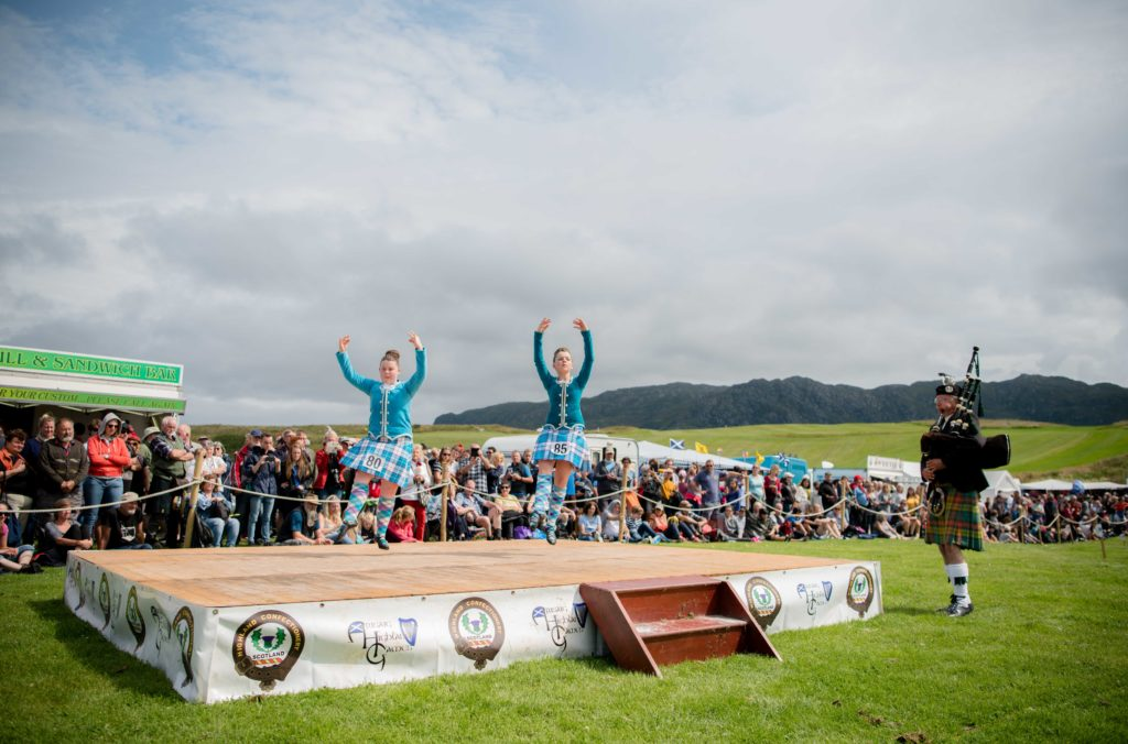 Arisaig offers one of the most stunning backdrops to any of the Highland games. NO F32 Arisaig Highland Games 2019 - Highland dancers 03