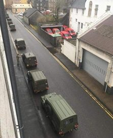 Army trucks on the move in Oban