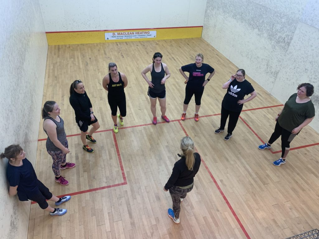 Lisa delivers coaching sessions to Squash Club