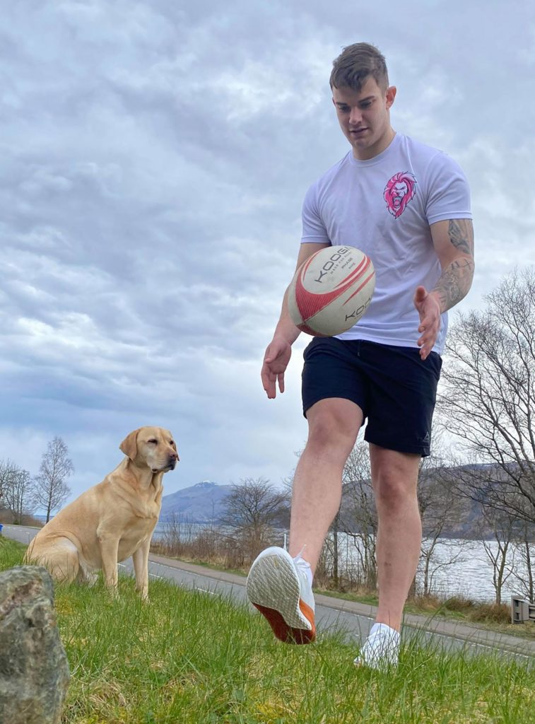 Lochaber RFC player Jonathan McCook does keepy up with a rugby ball. Photograph: Iain Ferguson, alba.photos NO F15 Keepy Up Jonathan McCook rugby (1)