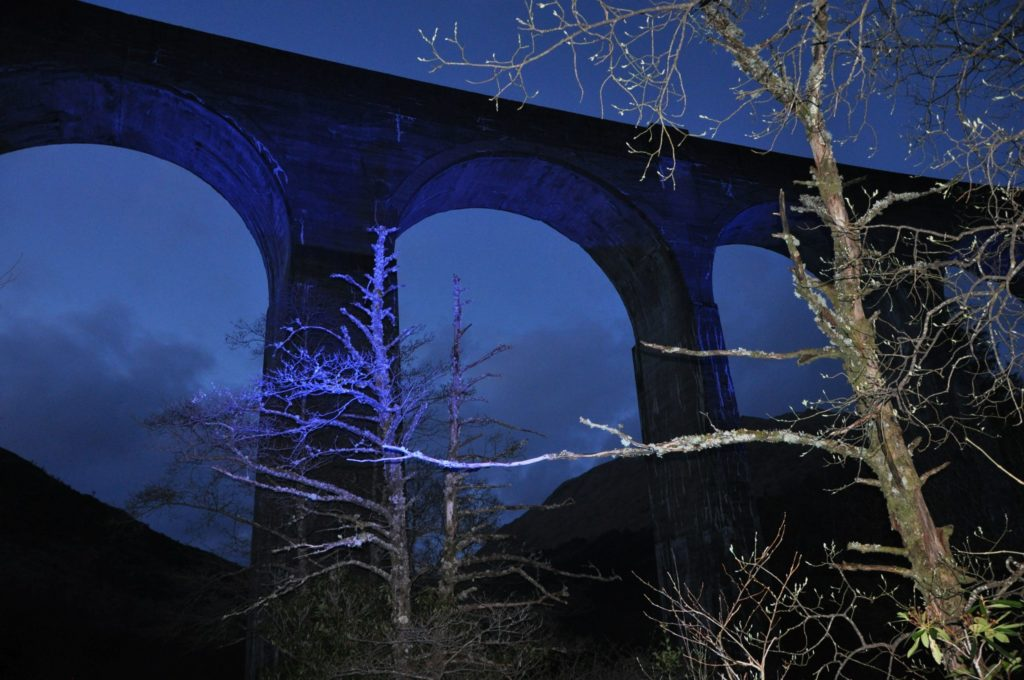 Iconic Harry Potter bridge turns blue in night-time salute to NHS staff