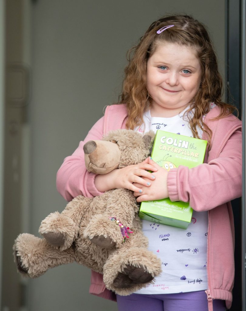 One of the three winners, Ellie Clarihew, from Lochyside was delighted with her prize. Photograph: Abrightside Photography. NO F21 Teddy bear hunt winner Ellie