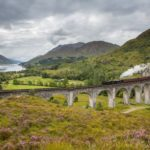 The Jacobite steam train passing over the Glenfinnan Viaduct at the head of Loch Shiel. NO F28 Glenfinnan sketch