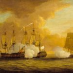 Held in the National Maritime Museum's collection, this painting depicts the sea battle on July 9 involving the prince's ships. NO F29 ship