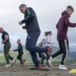 Members of the Club tale to the wide open spaces of Caol foreshore, allowing more people to take part in training. Photograph: Iain Ferguson, alba.photos NO F32 Beach Boxercise 05