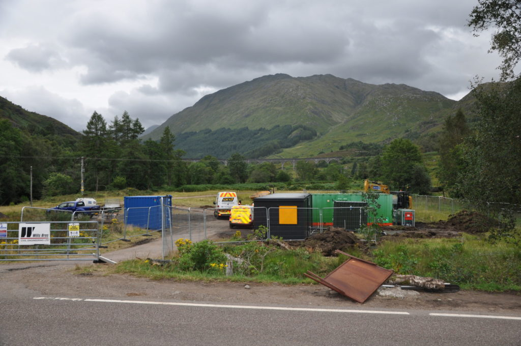 Construction of the new community car park at Glenfinnan got underway at the start of this week. Photograph: Mark Entwistle. NO F35 Glenfinnan Car park 01